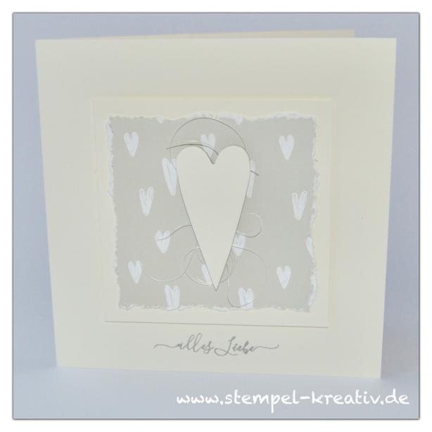 Weiße Herzen - Glückwunschkarten