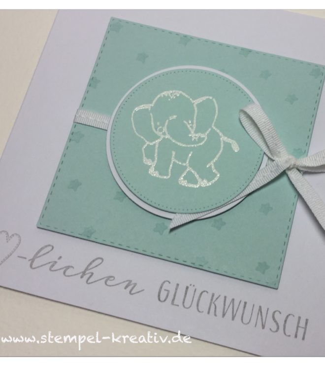 Babykarte mit Elefant hellblau