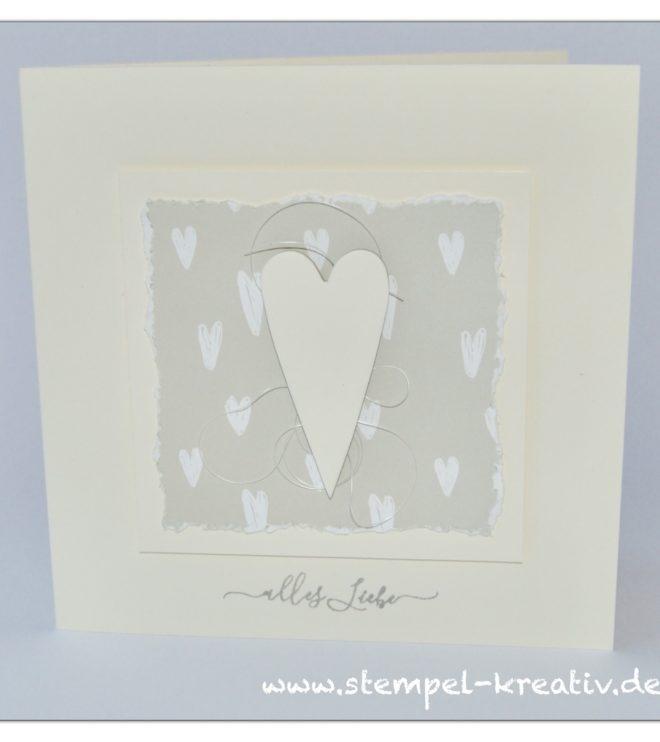 Hochzeitskarte Herz mit Designpapier weiße Herzen