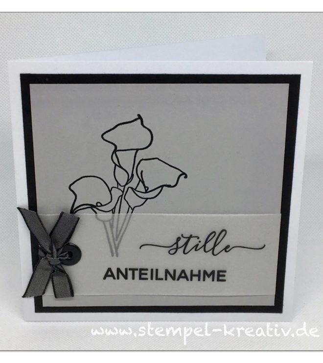 Trauerkarte Stille Anteilnahme mit Calla