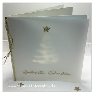 Weihnachtskarte Tannenbaum mit Transparentpapier