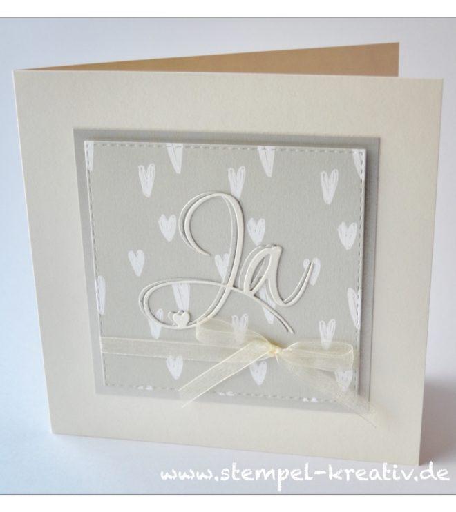 Hochzeitskarte JA mit Designpapier weiße Herzen