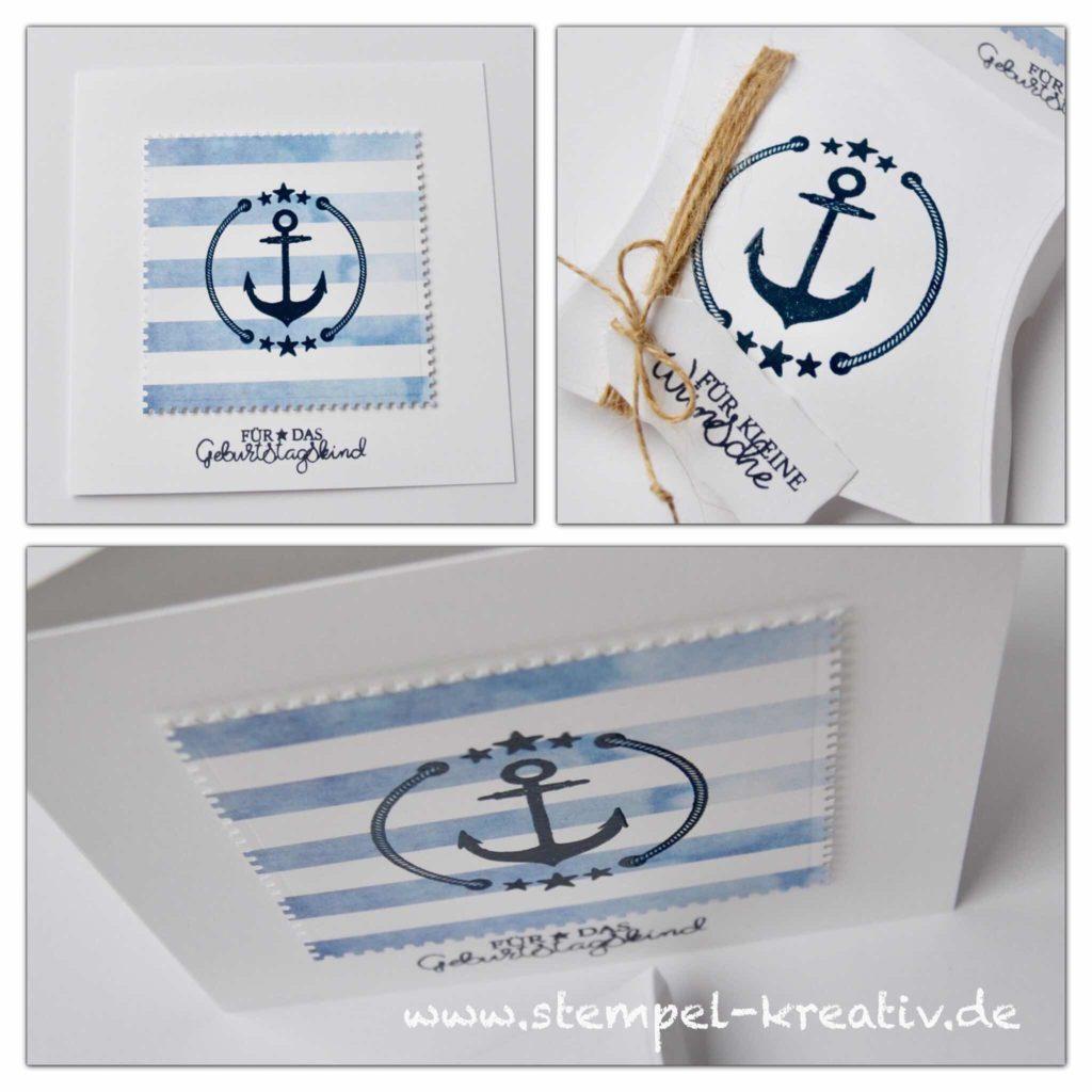 Glückwunschkarte mit Pillowbox maritim Anker Geldgeschenk Gutschein