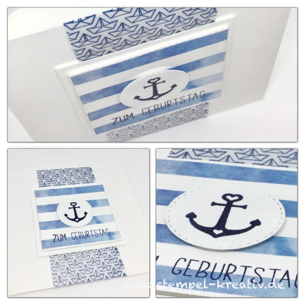 Glückwunschkarte Zum Geburtstag mit Anker und Schiffchen