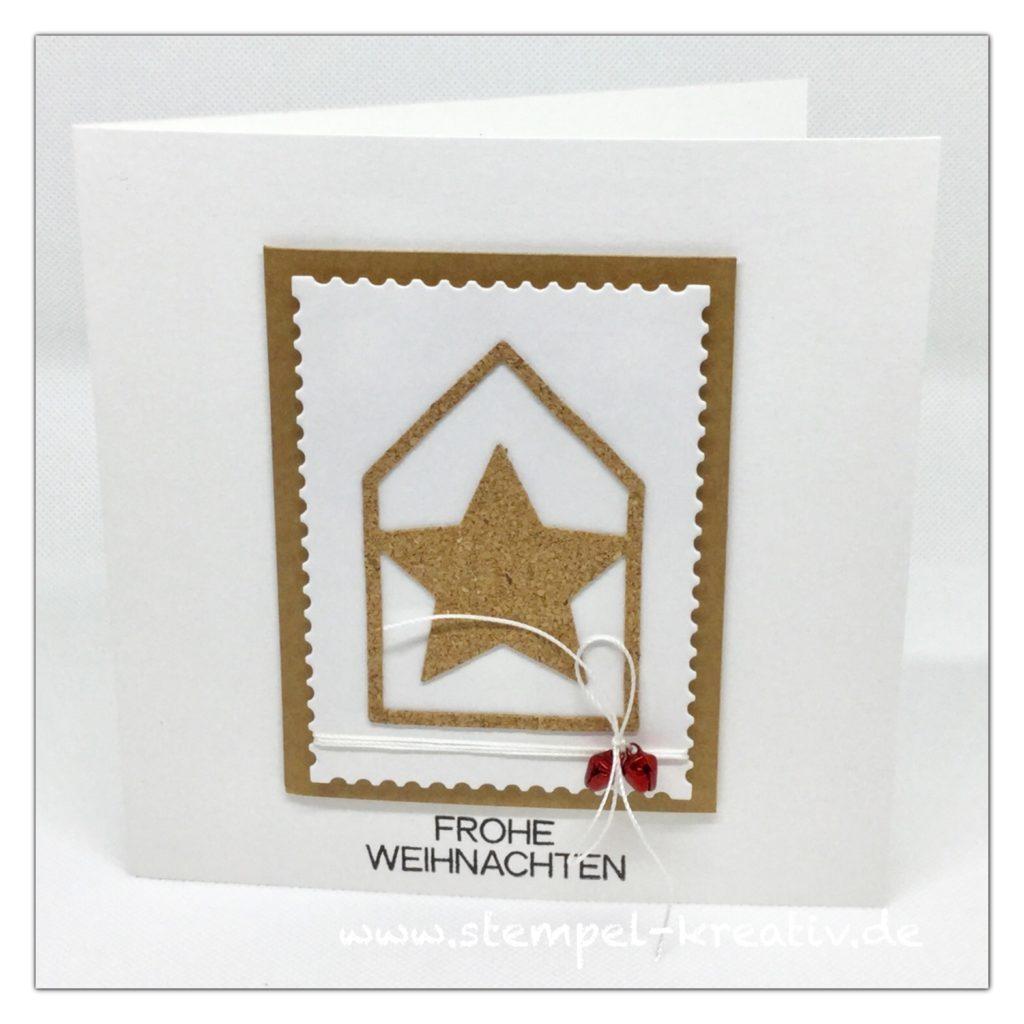 Weihnachtskarte Haus mit Stern