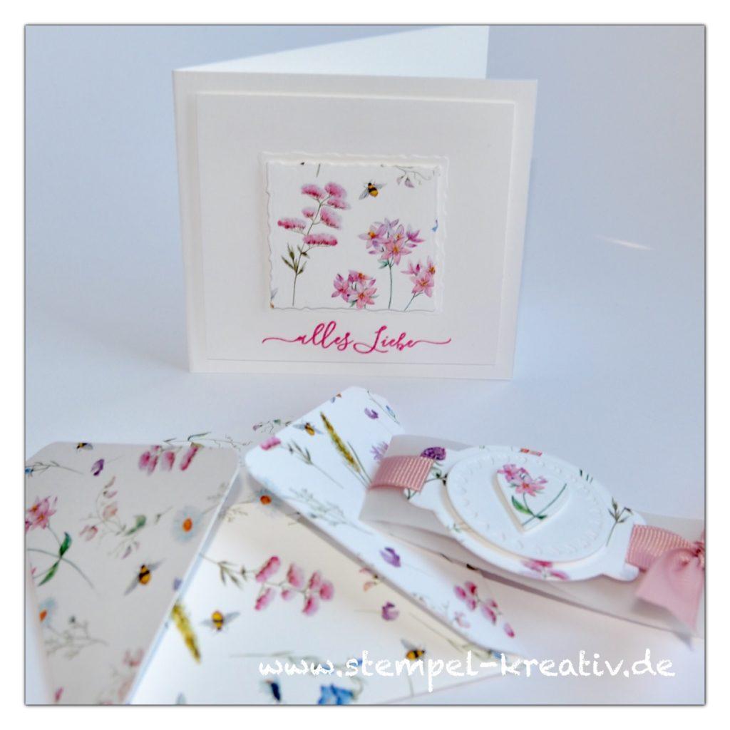Miniumschlag mit Glückwunschkarte Blumenwiese