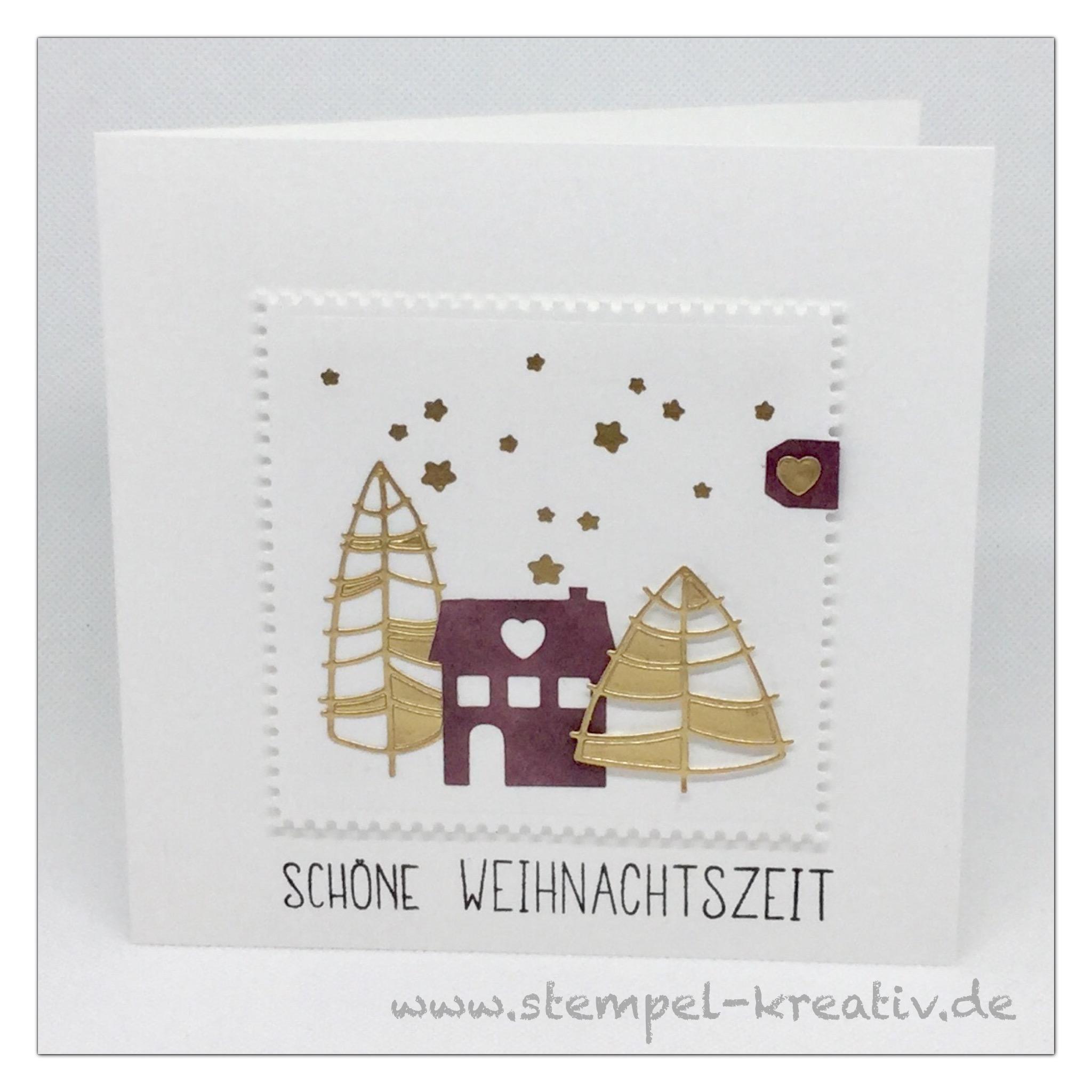 Weihnachtskarte Häuser mit moderne Tannen