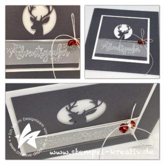 Weihnachtskarte Frohe Adventszauber mit Frohes Fest Dreierlei