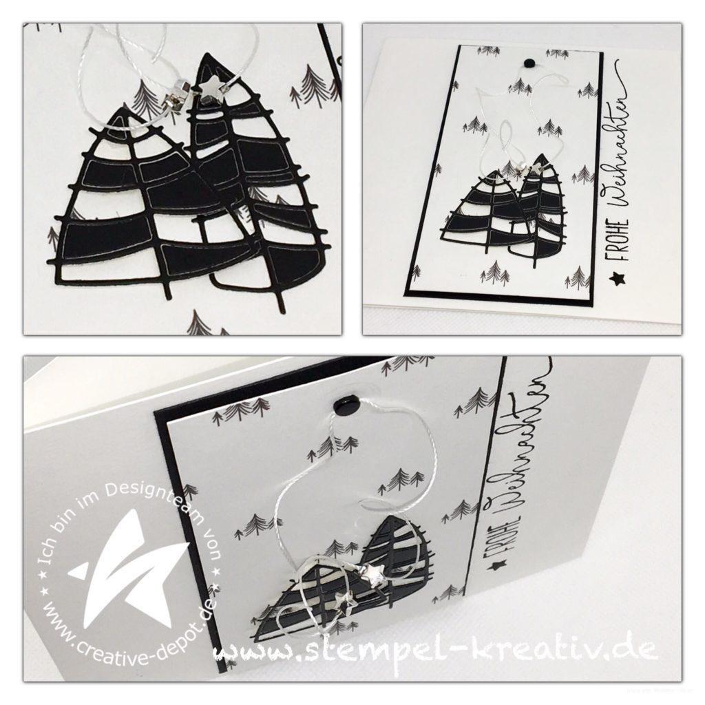 Weihnachtskarte Moderne Tannen mit Tannenpapier