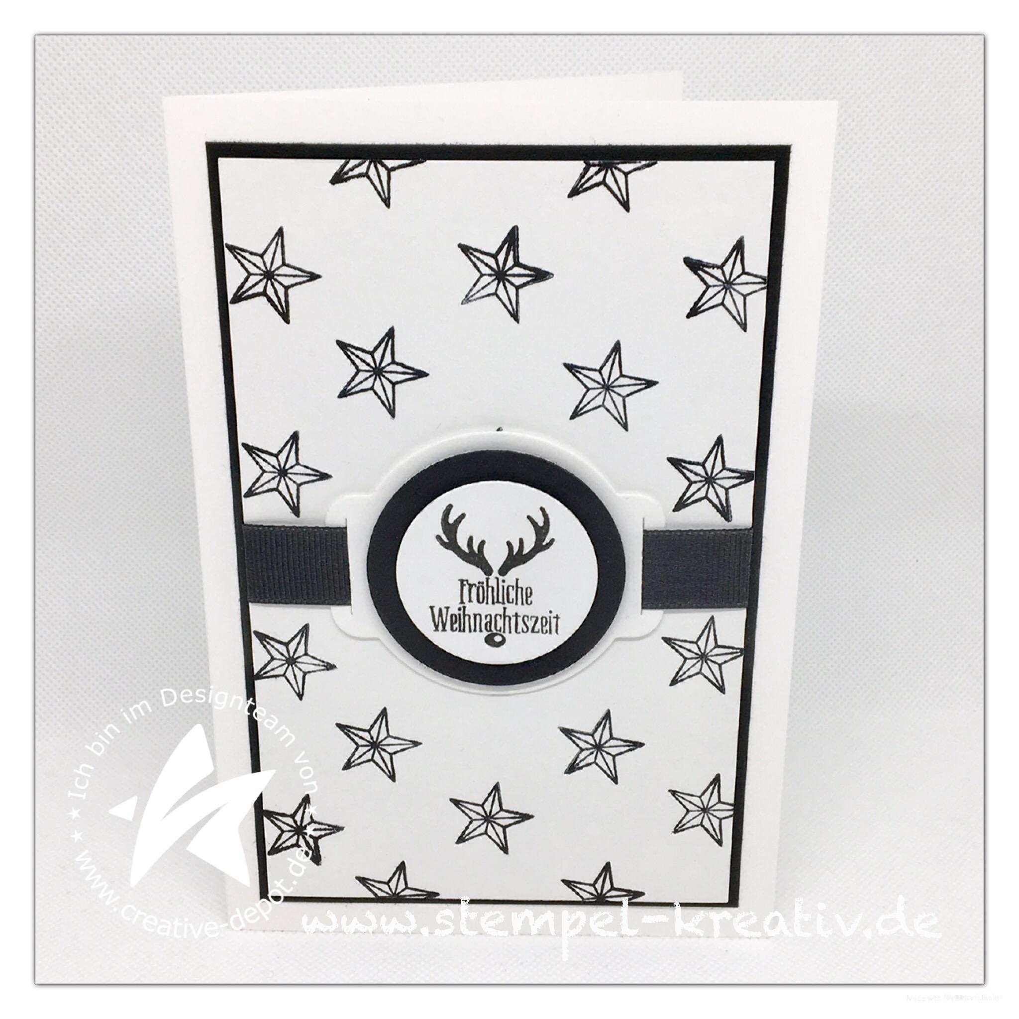 Weihnachtskarte mit Geschenkbandstanze und Weihnachtskreise
