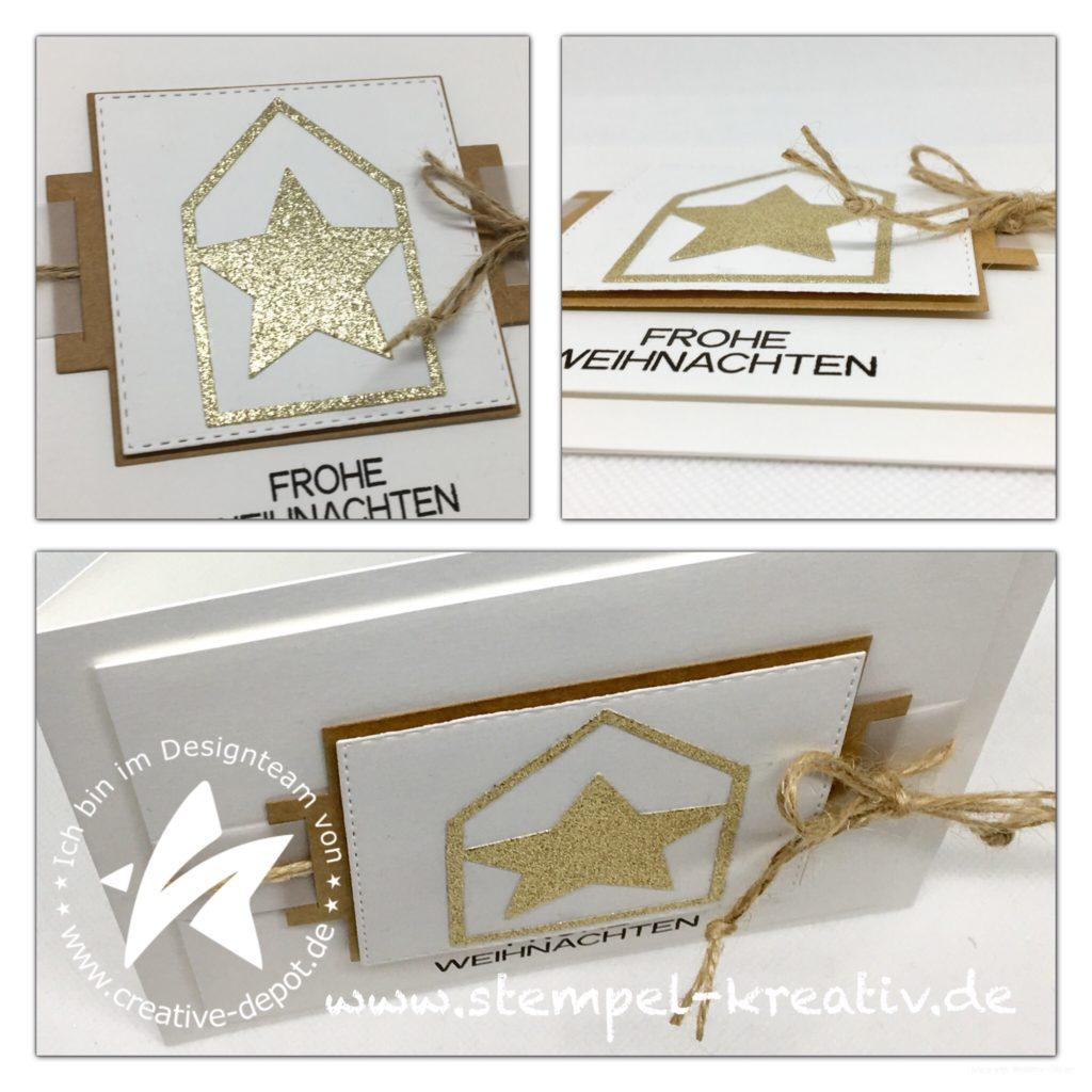 Weihnachtskarte Geschenkbandstanze Haus mit Stern
