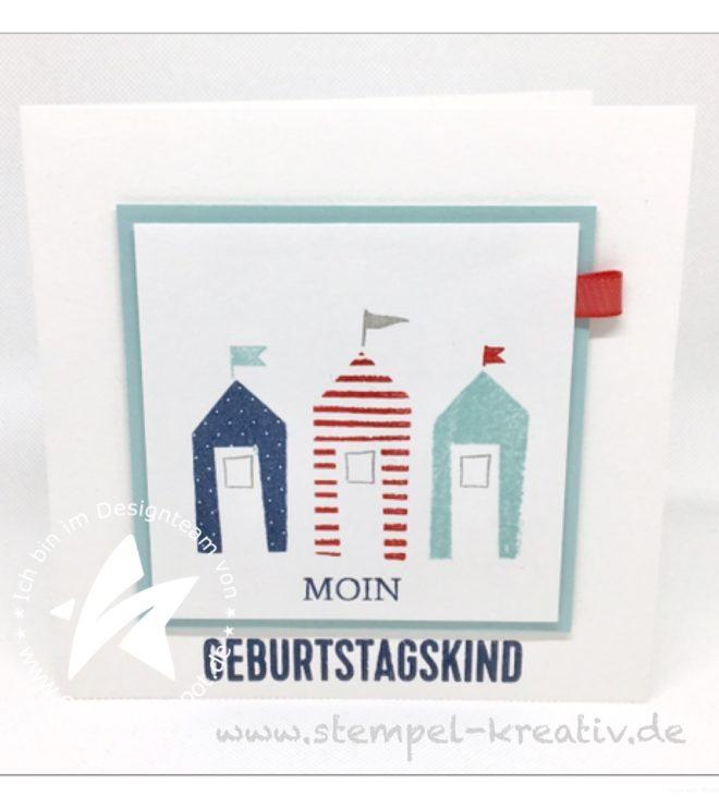 Glückwunschkarte Moin Geburtstagskind Strandhaus