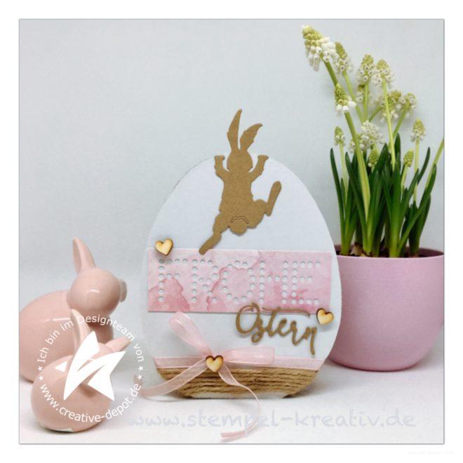 Wellpappe Osterei klein dekoriert