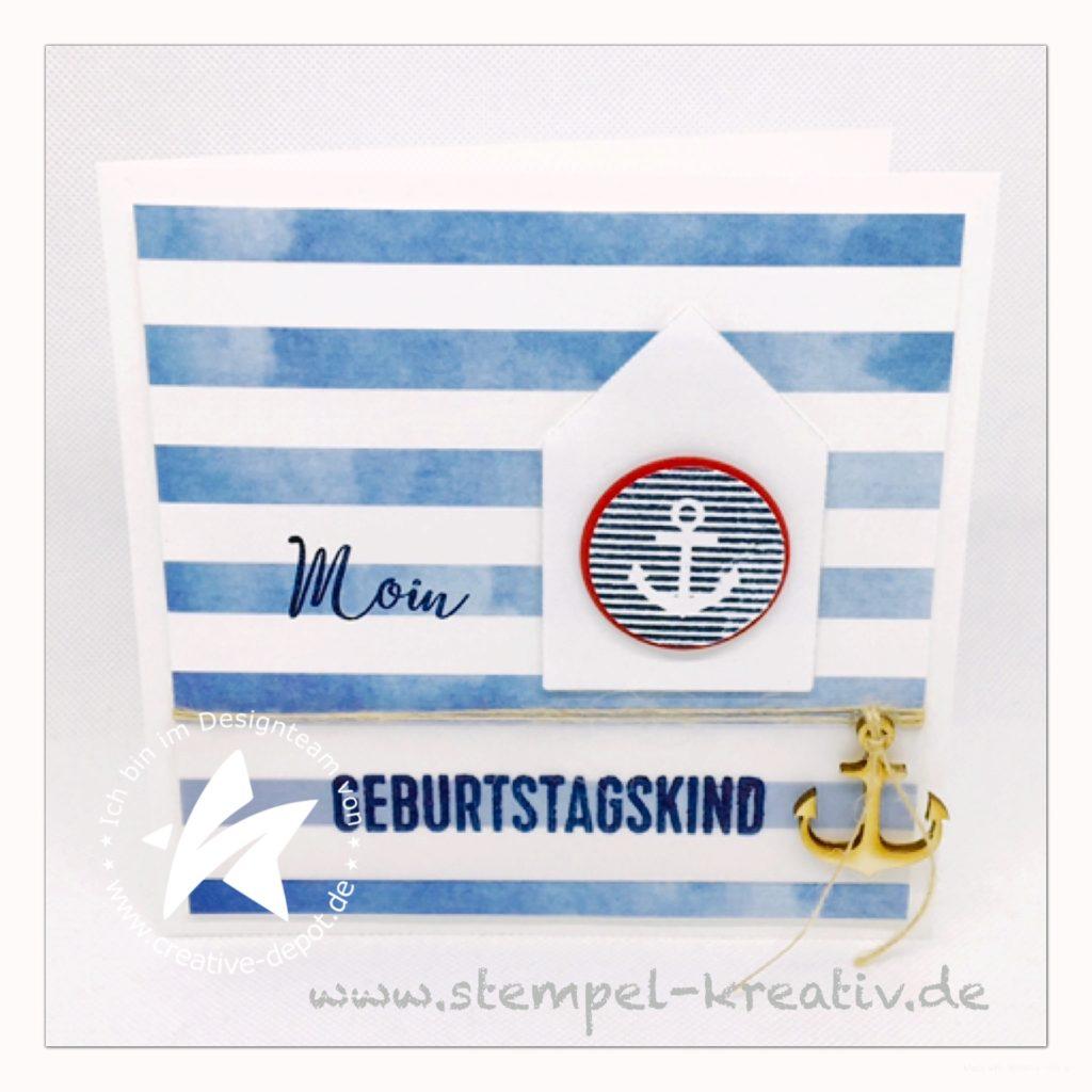 Glückwunschkarte Moin Geburtstagskind maritim mit Häuserstanze