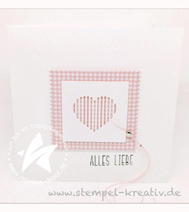 Glückwunschkarte Alles Liebe mit Stanze gestreiftes Herz
