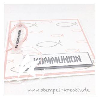 Glückwunschkarte zur Kommunion Fische rosa